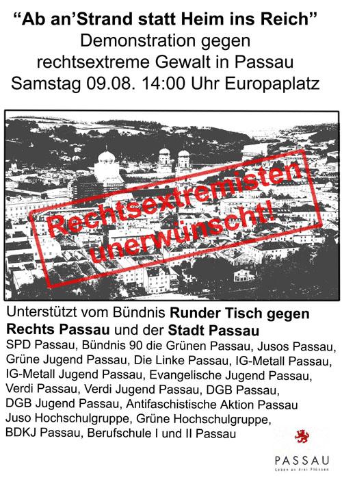 Demo gegen NPD und andere Rechtsextreme am 9.8.2008 in Passau