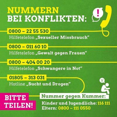 Telefonnummern bei Konflikten